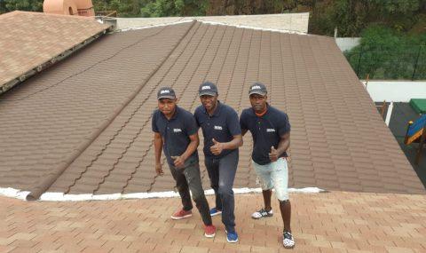 Decra Tandimex Team installing re-roof over bitumen shingle in Angola